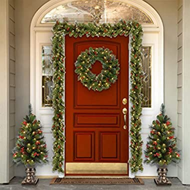 National Tree Company Pre-lit Artificial Christmas Garland   Flocked with Mixed Decorations and Lights   Crestwood Spruce - 9