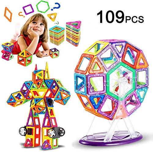 LIVEHITOP 109 Pezzi Costruzioni Magnetiche per Bambini, Grandi Magnetica Costruzione Blocchi Giochi Educativi Creativi 3D DIY Giocattoli Regalo per Natale Giorno dei Bambini e Adulti