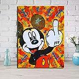 VVSUN Lienzo Modular para decoración del hogar, Impresiones en HD, póster de Pintura de Mickey Mouse, imágenes artísticas de Pared de Estilo Moderno, Sala de Estar, 50x70 cm (sin Marco)