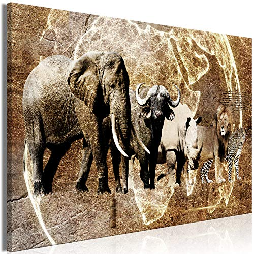 murando - Bilder Weltkarte 120x80 cm Vlies Leinwandbild 1 TLG Kunstdruck modern Wandbilder XXL Wanddekoration Design Wand Bild - Afrika Tiere Kontinente Globus Löwe Elefant Textur g-C-0339-b-a
