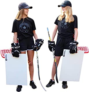 Better Hockey Extreme Sauce Combo Double - Backyard Games - Training Aid for Saucer Passing - Trick Shot Kit - Mini Goal Holds up to 40 Pucks - Shooting Pad Simulates The Feel of Real Ice