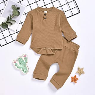 TZOU Knitted Romper Suits Long Sleeves Jumpsuit and Elastic Waist Pants for Boys and Girls Brown 70cm