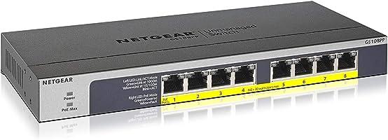 NETGEAR アンマネージ スイッチングハブ 8ポート (PoE+ 8ポート 123W) 卓上型コンパクト ギガビット 静音ファンレス 省電力設計 法人向け GS108PP