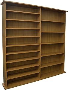 WATSONS Extra - étagère Extra-Large de Rangement 1300 CD ou 552 DVD bibliotheque - finitio - Finition Chene