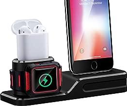 Maxdot Base de Carga para Apple Watch Series iPhone Airpods, Estación de Carga de Siliona 3 en 1 para Airpods, Apple Watch Series 1/2/ 3, iPhone X/ 8/8 Plus/ 7/7 Plus/ 6/ 6s Plus