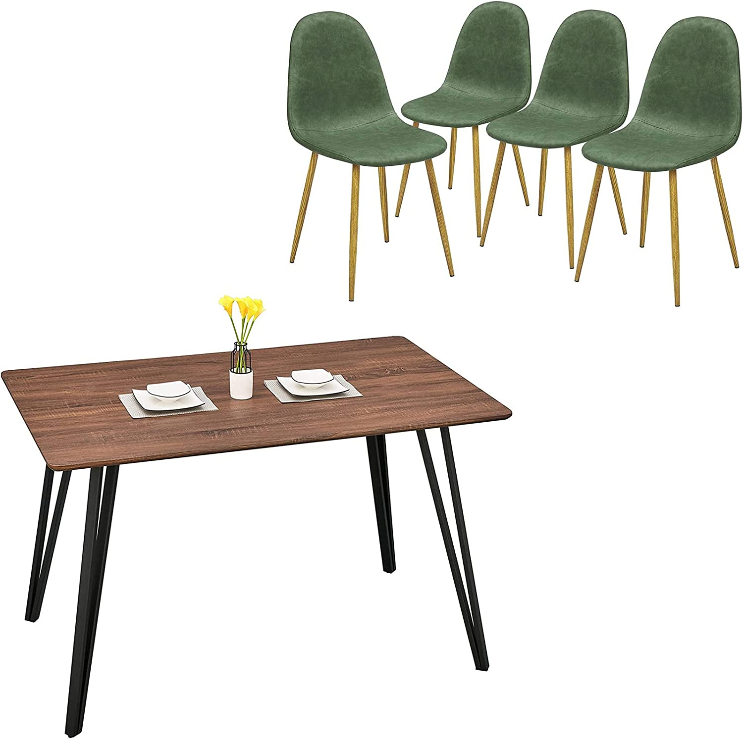GreenForest Velvet Dining Chairs Low price Set of 47 Seasonal Wrap Introduction 4 Table '' and