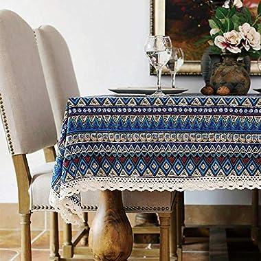 Bringsine Washable Cotton Linen Lace Bohemian Style Geometric Design Rectangle Tablecloth Dinner Picnic Table Cloth Home Decoration Assorted Size