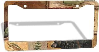 Car Registration Plate Holders License Plate Frame Rustic Lodge Bear Moose Deer 2 Pcs Package Car Front And Rear 2 License...
