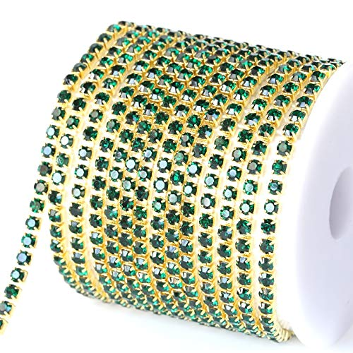 Astonish 10 Yard/Rolle Smaragdrhinestone-Schalen-Kette näHen auf Strass Trimming Basis Dichtes dunkelgrün für Abendkleid Y2987: SS12-3mm