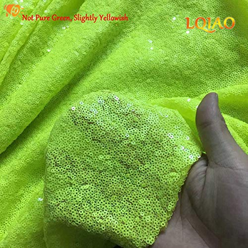 Neon Green Sewing Sequin Fabric Sequin Lace Fabric Sold by The Yard for Costumes Sequin Knit Fabric, Tablecloth, Table Runner, Sequin Backdrop Wedding Dress Decorations(1 Yard) (Neon Green, 1 Yard)