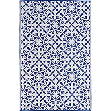Fab Habitat Reversible, Indoor/Outdoor Weather Resistant Floor Mat/Rug - San Juan - Dark Blue (5' x 8')