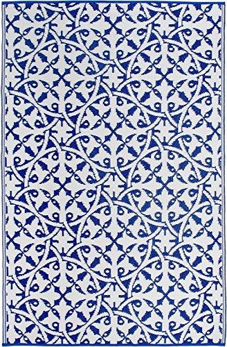 FAB HAB Habitat Reversible, Innen- / Außenwitterungsbeständig Bodenmatte/Teppich - San Juan in Dark Blue (150 cm x 240 cm)
