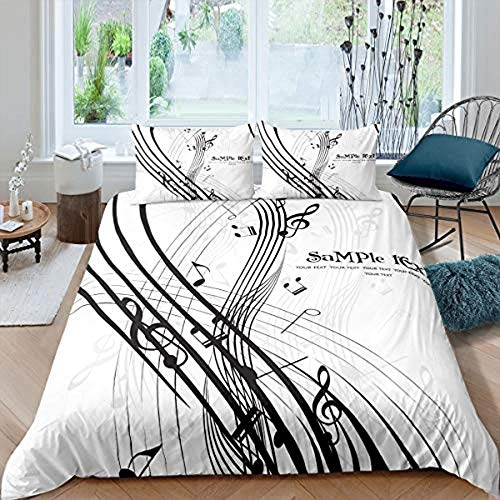 Matasuer Bedding Bedroom Collection Duvet Cover Set - Music Musical Notes - Double (200 X 200 Cm) 2 Pillowcase 50 X 75 Cm Soft Easy Care Anti-Allergic Bedding Set Gift For Teens Girls