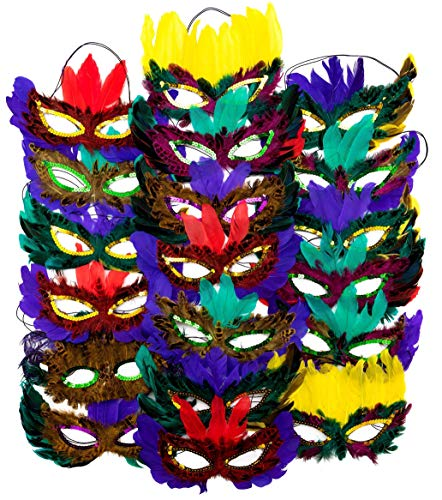 12 Mardi Gras Masks With Feathers For Adult Men Women, Costume Mask for Masquerade Festival Party Supplies