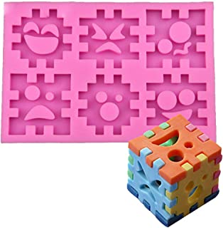 Fewo 3D Emoji Puzzle Piece Blocks Silicone Mold for Fondant Chocolate Candy Gum Paste Polymer Clay Resin Kitchen Baking Sugar Craft Cake Cupcake Decorating Tools
