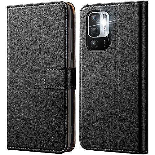 HOOMIL Handyhülle für Xiaomi Redmi Note 10 5G Hülle, Xiaomi Poco M3 Pro 5G Hülle Leder Tasche Flip Case Schutzhülle Schwarz