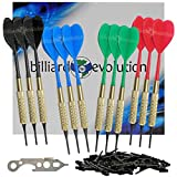Billiard Evolution Set of Twelve Brass 2ba 16gm Soft Tip Bar Darts, 100 Black Plastic Dart Tips, Dart Wrench