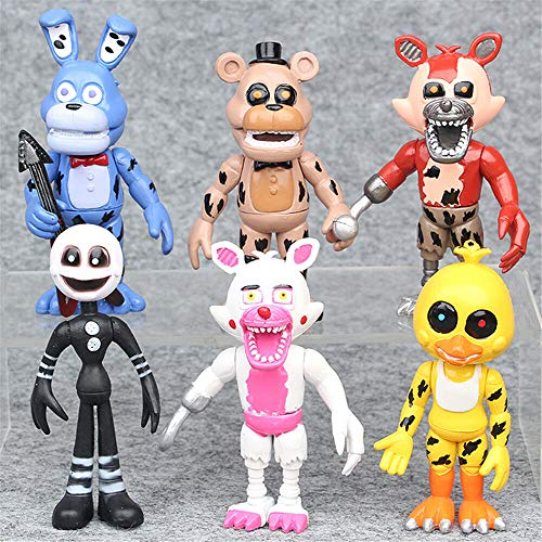 6 pcs Five Nights at Freddy's Foxy Chica Bonnie Action Figure Cake Topper Toy (US Stock)