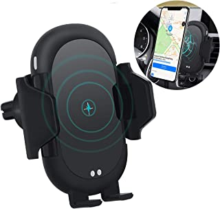 Wireless Car Charger Mount, Automatic Clamping 10W/7.5W Qi Fast Wireless Charger, Air Vent Phone Holder Compatible with Wireless Charging Capable Mobile Phone Black.