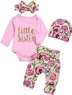 4pcs Infant Baby Girl Little Sister Long Sleeve Romper Pants Headband Hat Floral Outfits Set
