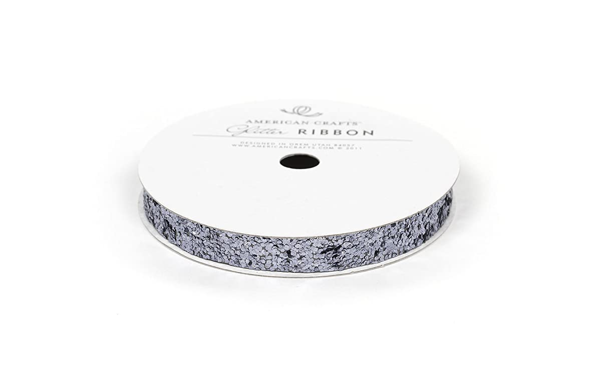 American Crafts 3/8-Inch Glitter Ribbon Strips, Large, Solid Slate