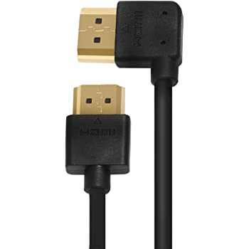 A to A HDMI Cable, Ysimda Ultra Slim Flexible Series One Port Saver 90 Degree Right- Angle A to A HDMI 2.0 High-Speed Cable, 6ft, Golded Connecter, 18G, Supports Ethernet, 3D, 4K and Audio Return