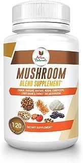 Mushroom Supplement with Turkey Tail, Reishi, Lion Mane, Maitake, Cordyceps, Chaga & Shiitake Mushrooms, 120 Veggie Capsules