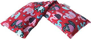 Hot and Cold Pack NON Lavender 100% Cotton Cute Animal Patterned Microwave Wheat Bag Animal Lovers! (Red Elephant)