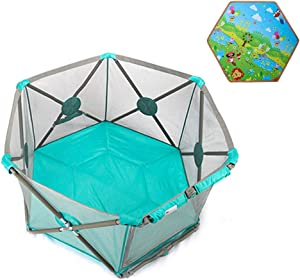 Portable Baby Ball Pit Tent Playpen Toddler Foldable Playards Fence with Ball Crawling Mat Door Breathable Mesh Indoors Outdoors Safety Gates for Infant Kids Activity Center