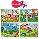 4 Pack Wooden Jigsaw Puzzles for Kids Ages 3-8 STEM Gift - 60 Pcs Preschool Educational Learning Jigsaw Toys Kindergarten Wooden Puzzles Toy for Boys and Girls (Zoo&Mouse&Dinosaur&insect)