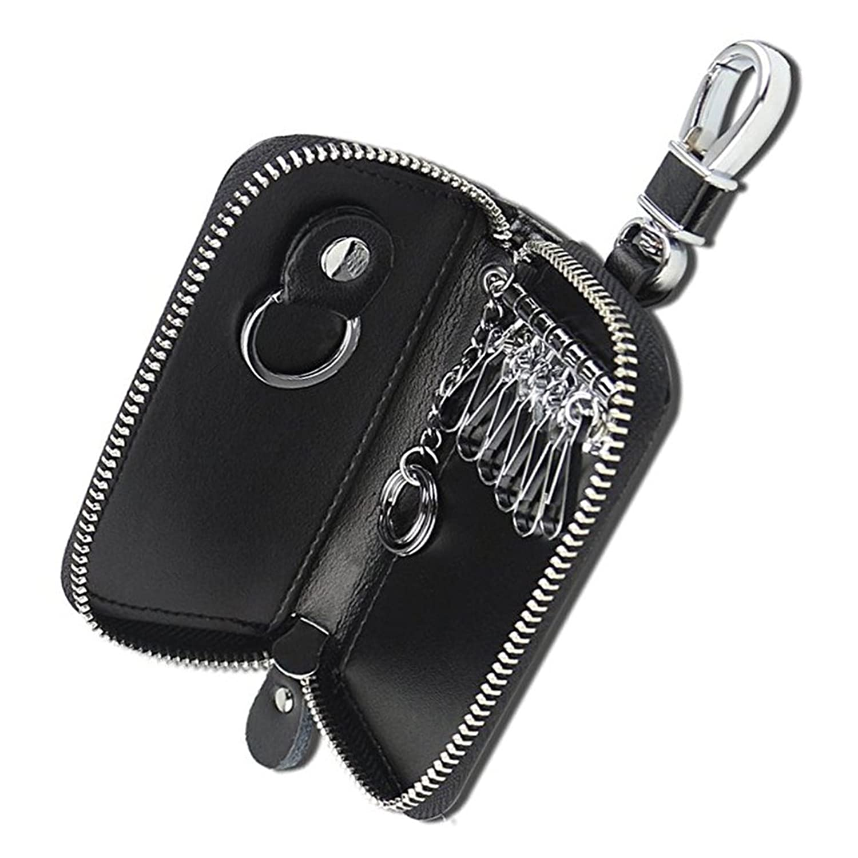 キーケース 6連 革 レザー スマートキーケース 車キーケース カード入れ付き ファスナー カラビナ付き メンズ レディース お祝い プレゼント(Kedious)