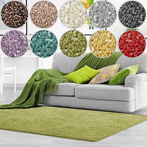casa pura Shaggy Teppich Bali | weicher Hochflor Teppich für Wohnzimmer, Schlafzimmer und Kinderzimmer | mit GUT-Siegel | Verschiedene Größen | viele Moderne Farben (66 x 130 cm, grün)