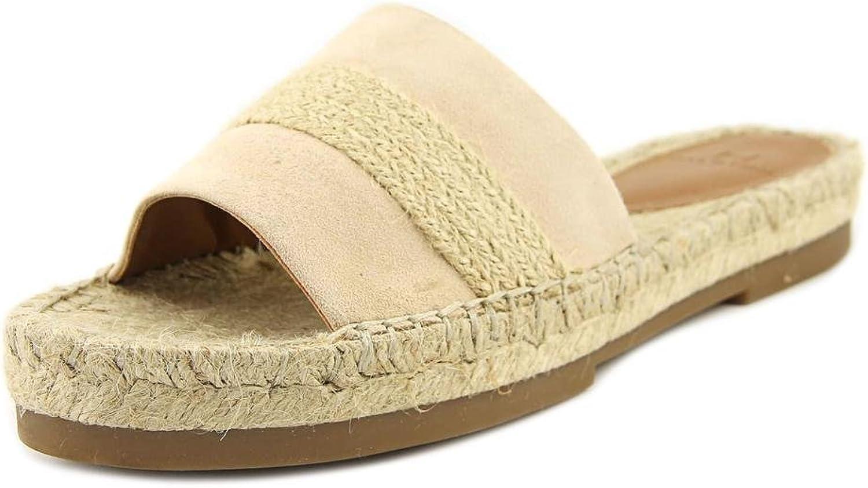 H Halston Womens Betty Suede Braided Flat Sandals Beige 6 Medium (B,M)