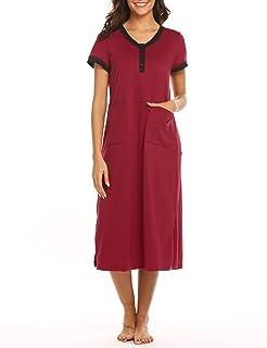 ثوب نوم طويل للنساء من إكوير قميص نوم قصير الأكمام بأزرار فوق الملابس النوم كاجوال هينلي لاونج فستان مع جيوب