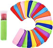 Mirenlife 24 Pack Ice Pop Sleeves Antifreezing Popsicle Holders Bags Neoprene Insulator Sleeves Freezer, 8 Colors