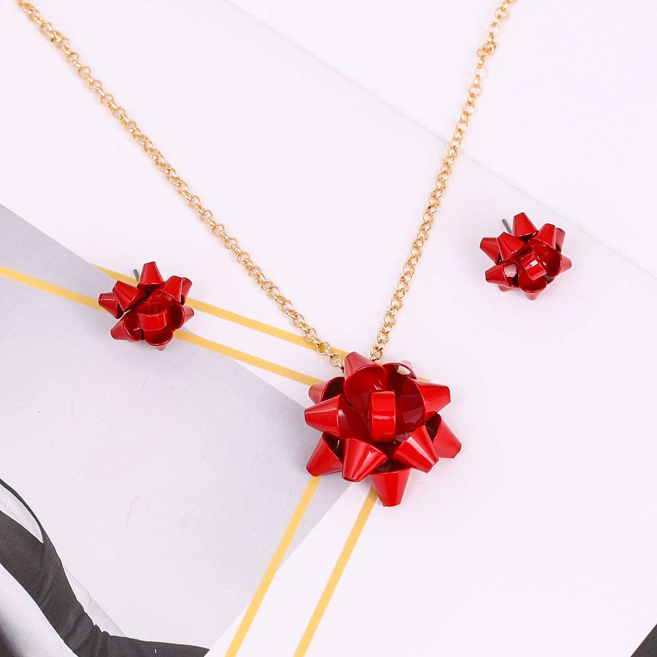 MOLOCH Christmas Necklace Earring Set Statement Gift Bow Pendant Necklace Post Stud Earring Set Christmas Jewelry Gifts for Women Girls