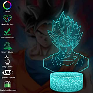 Dragon Ball Z Goku Saiya Cartoon Figures Acrylic 3D Night Lights USB LED Table Lamp Touch Control Home 3D Arts Lamp Multicolor 7 Color Changing Bedroom Decor Child Gifts (Goku Crack Touch)