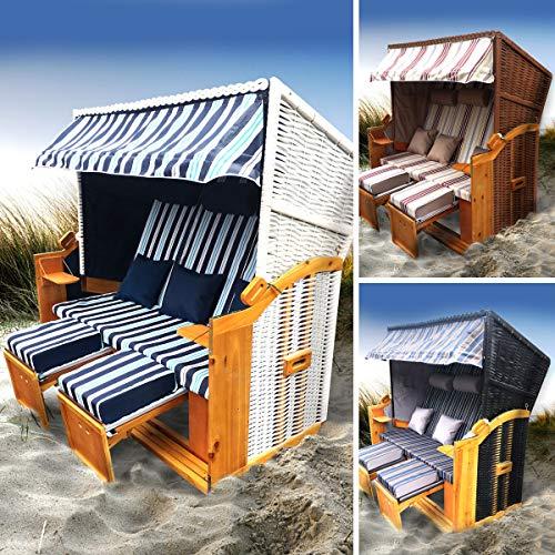 BRAST Strandkorb Ostsee 3-Sitzer 165cm breit Rot Beige gestreift XXL Volllieger incl. Schutzhülle Gartenliege Sonneninsel Poly-Rattan - 7