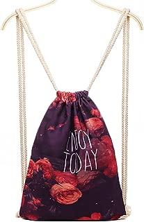 QZUnique Women's Casual Fashion Outdoor Natural 3D Digital Printed Neutral Drawstring Backpack Floral Printed