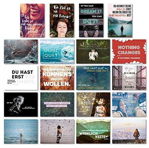20er Postkarten Set MOTIVATION mit 20 motivierenden Sprüchen // Spruch Postkarte