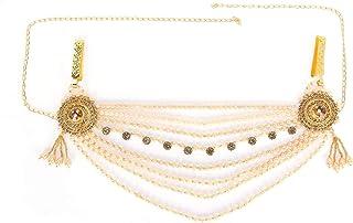 Amazon Brand - Anarva Women's Kundan Crystal Beads Tassel Kamarband Waist Chain