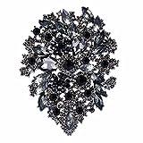 EVER FAITH Women's Austrian Crystal Vintage Style Flower Leaf Cluster Brooch Black Black-Tone