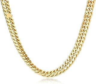 عقد بسلسلة مطلي بالذهب الابيض 18 قيراط للرجال بقياس 24 انش وعرض 7 ملم بتصميم كيوبان كيرب مع حلقات متصلة - ماسيف