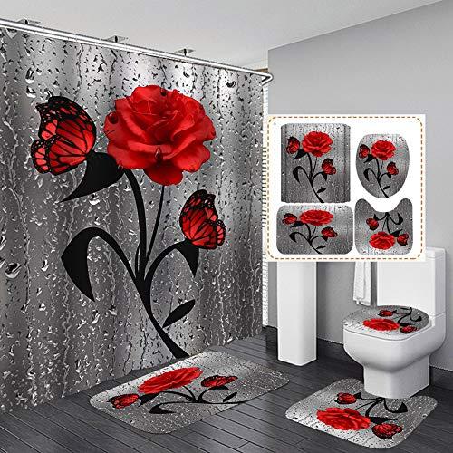 YDGHD Lot de 4 tapis de salle de bain antidérapants avec impression 3D Motif papillon et rose (6 couleurs disponibles) (rouge)