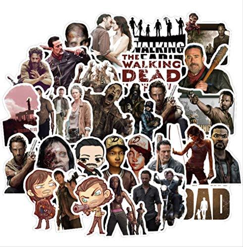 HONGC Paquete de Pegatinas Walking Dead para en el portátil, Nevera, teléfono, monopatín, Maleta de Viaje, Equipaje, Pegatina de Terror, 50 Piezas