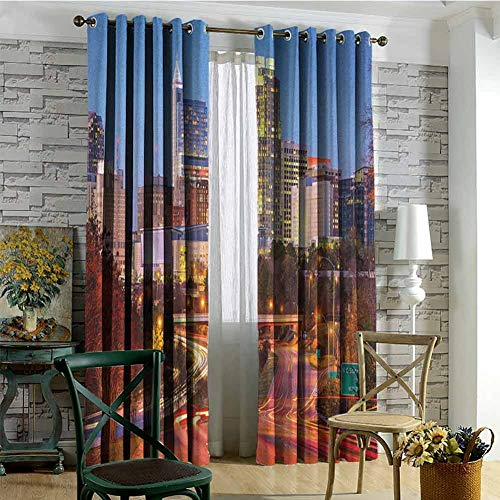 hengshu United States 99% Blackout Curtains Raleigh North Carolina USA Express Way Business District Building Skyscrapers for Bedroom Kindergarten Living Room W84 x L84 Inch Multicolor