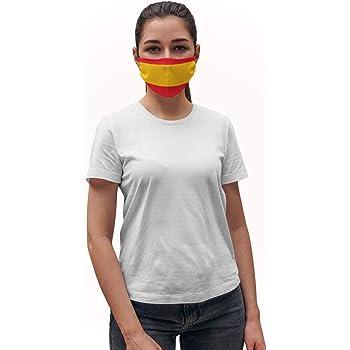 Cubierta facial de tela con dibujo Bandera de España Lavable Reutilizable para Boca, Actividades al aire libre con Bolsillo de Filtro PM 2.5, para Adultos: Amazon.es: Belleza