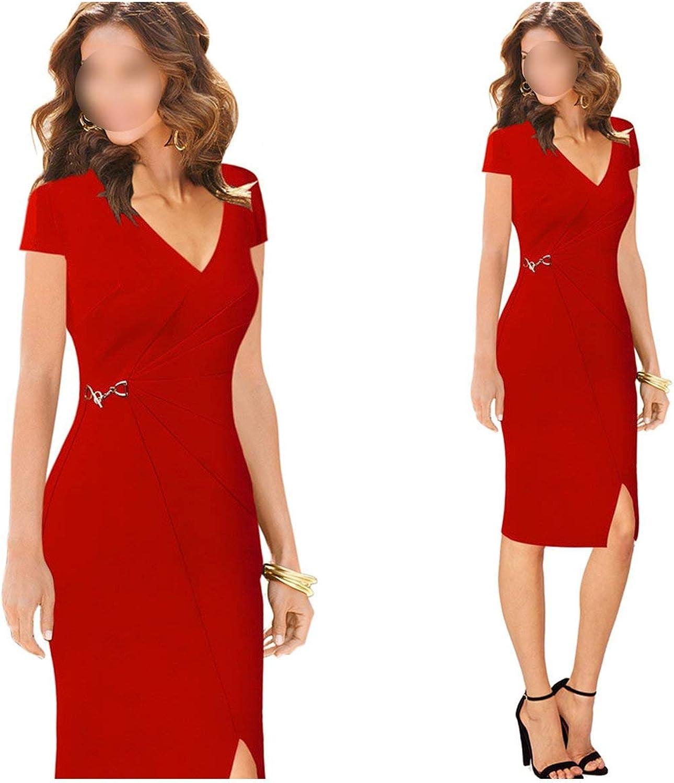 Womens Elegant Vintage V Neck Ruched Pleated Split Wear to Work Vestidos Party Bodycon Sheath Dress 005