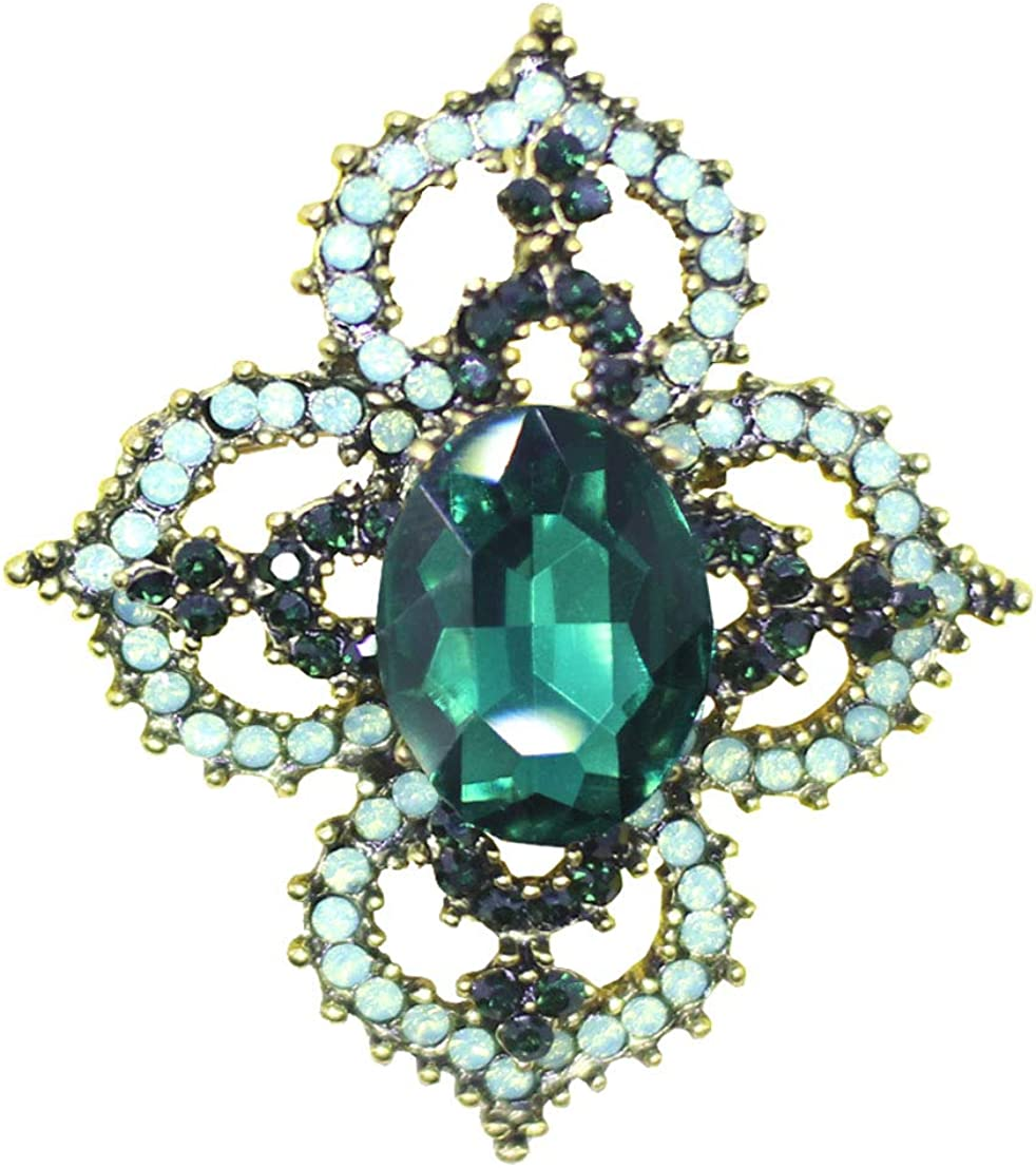Tang & Chen Brooch Pins for Women Fashion Flower Crystal