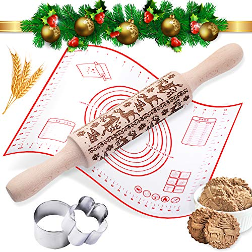 Christmas Wooden Rolling Pins and Silicone Baking Mat Set Deeply Engraved Embossing Rolling Pin with Christmas Deer Pattern for Baking Fondant Pizza Cake Pie Cookie